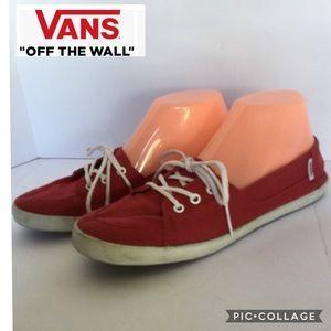 Vans size 8 canvas red white shoelaces rubber sole